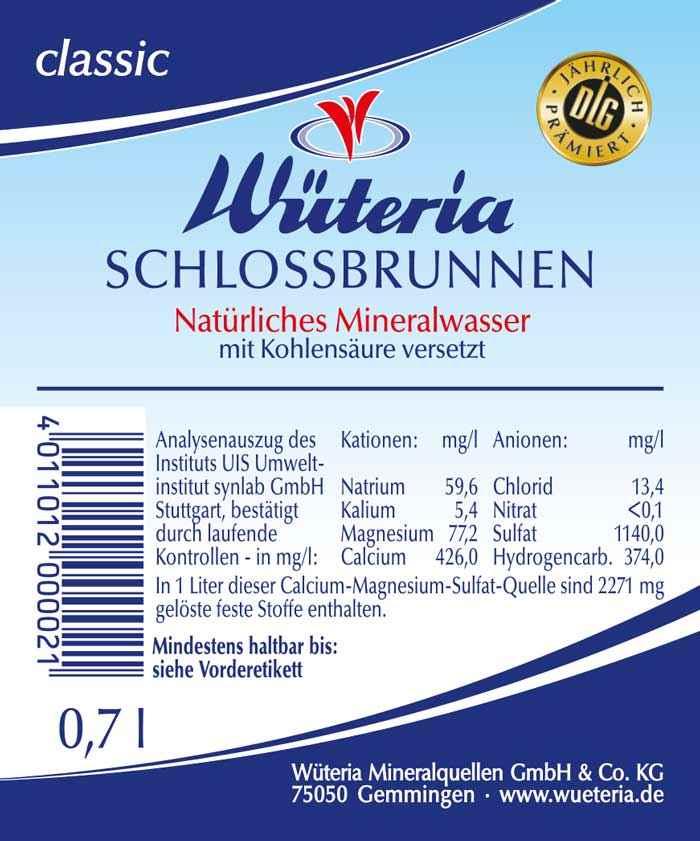 Wüteria Mineralwasser von der quelle auf den Tisch Etikett