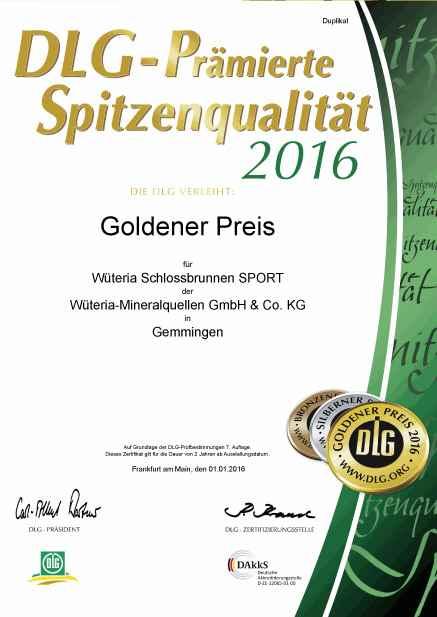 Wüteria Mineralwasser DLG 2016 Schlossbrunnen-Sport