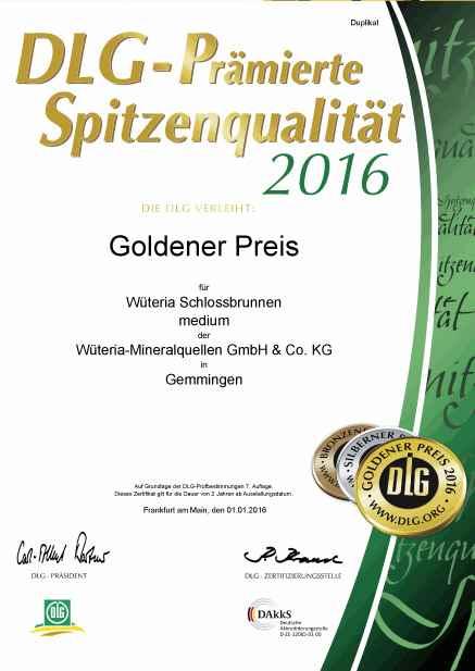 Wüteria Mineralwasser DLG 2016 Schlossbrunnen Medium